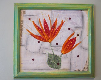 Abstract flowers collage, mixed media art, framed art