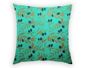 Green Pillow Cover - Olive Branch - Linun Cushion Cover
