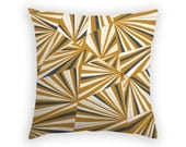 Throw Pillow - 17 x 17 Inch - Hand sketched Geometric Design - Navy and Tan