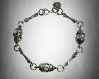 Ezi zino Bones and Skull sterling silver 925 unisex  Bracelet Authenticity Guarantees