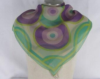 "60s Vera Sheer Scarf Mod Circle Print Teal Yellow Purple Silk Made in Japan 27"" sq"