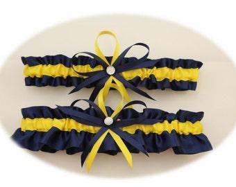 Navy Blue and Yellow Wedding Garter Set, Bridal Garter Set,  (your choice: single or set)