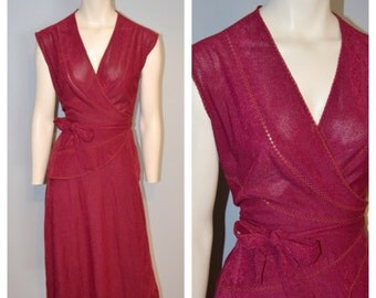 Vintage 1970's Burgundy/Maroon Wrap Midi Dress by Young Edwardian