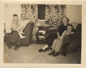 Grandma and Grandpa posing with thier Grand babies Vintage Photo  K16803