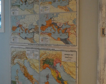 Antique Map, Ancient Italy, Double Pull Down School Map, Large Nystrom 1930s-40s Map