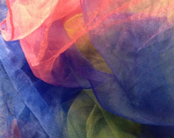 "Rose to blue and green shade Extra large  Silk Gauze  Scarf 40""X70""(Perfect  for Nuno Felting)"