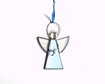 Angel suncatcher ornament, hanging angel, light wispy blue angel, Christian faith hope, angel gift under 20, shooting star angel