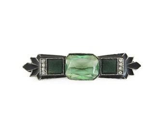 Art Deco Brooch, Peridot Green, Enamel, Rhinestone, Bar Pin, Sash Brooch, Vintage Brooch, Vintage Jewelry