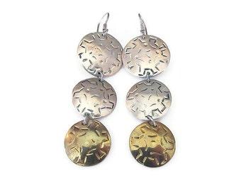 Laton Earrings, Taxco Mexico, Sterling Silver, Mexican Sterling, Gold Plated, Dangle Drop Earrings, Vintage Earrings, Vintage Jewelry