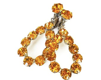 Rhinestone Earrings, Amber Topaz, Silver Tone, Dangle Chandelier, Vintage Jewelry, November Birthday