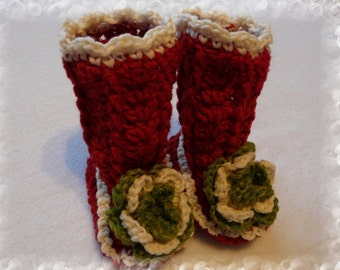 103.Crocheted baby booties long