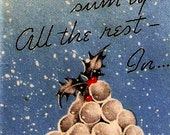 Vintage Christmas Card Pile Of Snowballs Gift Tag