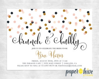 Brunch and bubbly bridal shower invitation / bridal brunch invitation / printable bridal shower invite