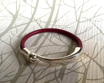 Red leather bangle with silver 1/2 hook clasp, cherry red leather bracelet, Italian leather bangle,  boho chic, graduation gift