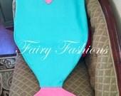 MERMAID TAIL blankets~kid KOOZIES, mermaid blanket, snuggle bag, monogramed blanket, custom,  sleeping bag, personalized blanket