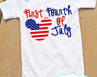 First Fourth of July Bodysuit - Mickey Mouse - Independence Day - 4th of July