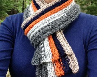 Super soft Scarf - orange, blue, beige, & gray