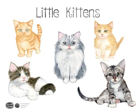 Watercolor Kittens, Kitten Clip Art, Kitten clipart, Cat ...