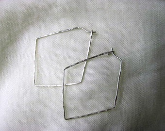Silver diamond shape hoop earrings, hammered hoops, 3 sizes available, lightweight everyday earrings, reclaimed sterling handmade earrings