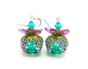 Teal Purple Earrings, Floral Earrings, Hollow Earrings, Blown Glass Earrings, Lampwork Earrings, Beadwork Earrings, Grape Earrings