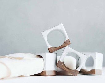 Napkin Rings - White - Napkin Holders - Ceramics - Pottery
