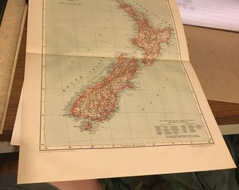 Circa 1910 New Zealand map. Great for framing! Free shipping. 11x17 paper image.