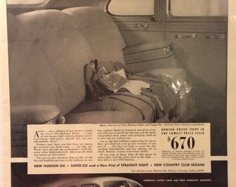 1940 Hudson ad. Hudson six super six new straight eight. Nee Country Club Sedans. 13x10.