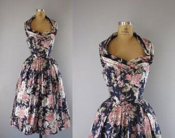 vintage floral sundress / 1980s halter party dress / She's a Beauty party dress