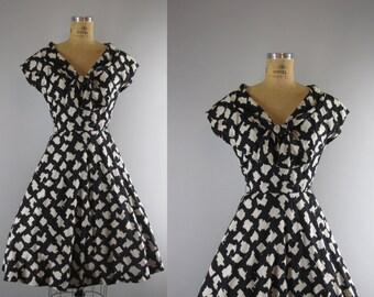 1950s Vintage Dress l 50s Adele Simpson Black and White  Cotton Dress