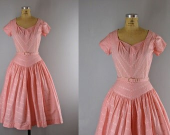 1950s Vintage Dress l 50s Pink Gingham Check Cotton Dress