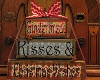 Christmas Decor, Christmas  Sign, Christmas blocks, Gingerbread Kisses and Christmas Wishes,  Word Blocks Sign