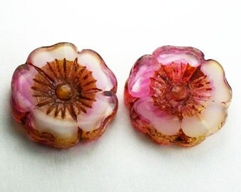 22mm Pink and White Flower Beads Czech Glass Picasso 2 pcs. F-2082