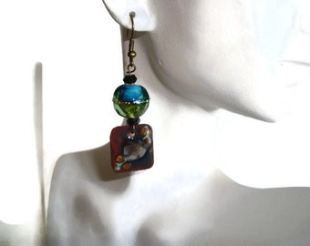 Bluegreen and Silver Lampwork Beaded Earrings, Gypsy Bohemian, Enameled Squares, Small Crystal Beads, Birthday Gift, Christmas Gift
