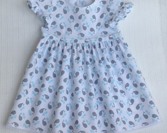 Baby girl cotton dress. Little whales. 92-98/ 2-3 years.