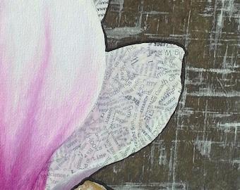 Madeleine--2d mixed media magnolia painting