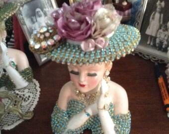 Jeweled 2705 lady head vase in aqua and clear jewels