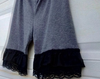 Heather gray knit bloomers with lace and ruffles SZ L XL Ready to Ship