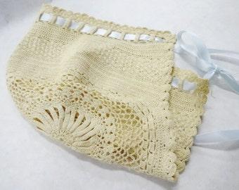 Vintage Baby Doll Handmade Crochet Hat Bonnet Cap Aged Handiwork Fashion Clothing Mannequin Display