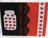 Valentines Card Handmade Black, Red and White with Jar of Hearts