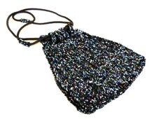 Antique 1930s Colorful Glass Bead Purse Vintage Beaded Bag Pouch