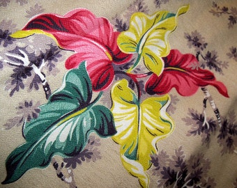 Over 7 yards of Vintage 1940s / 1950s Woven Barkcloth Tropical Fabric yardage