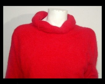 Lipstick red 75% angora wool rollneck pullover sweater ~ Medium Large 38 ~ sexy bombshell cowl top apres ski ~ Parkhurst Made in Canada