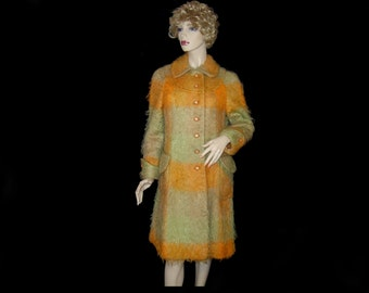 Shaggy 1960s pumpkin orange & sage green 100% pure mohair wool coat ~ Small Medium ~ 6 8 ~ tweed ~ bright mod winter sweater jacket ~ plaid