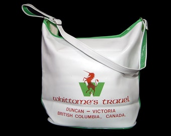 1960s 1970s snow white green red unicorn flight bag tote - long strap - travel messenger suitcase - cross body satchel new deadstock 60s