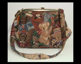 Large 1980s woven tapestry satchel shoulder bag ~ Cabrelli Canada ~ stuffed Steiff bear w 10k gold chain ~ teddy bear novelty print purse
