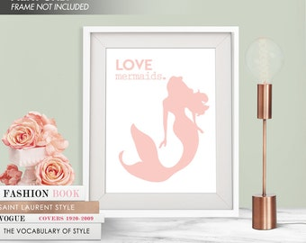 LOVE MERMAIDS - Art Print (Featured in Rose Quartz) Love Nautical Art Print and Poster Collection