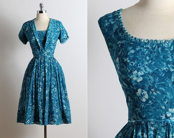 Vintage 50s Dress | vintage 1950s dress | dress and bolero small s | 5670