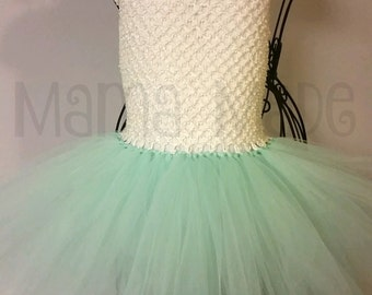 Mint and Ivory Tutu Dress Ivory and Mint tutu dress birthday tutu dress flower girl tutu,flower girl dress, flower girl tutu dress,tutu