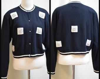 Vintage 80s I DID IT by Matthew H. Black Embellished Cardigan Sweater w Pearls SZ M