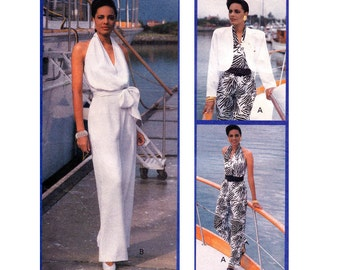 80s Halter Wrap Jumpsuit Bolero Pattern Butterick 3934 Sewing pattern Size 8 Bust 31 1/2 inches
